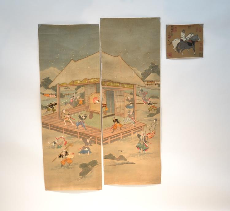 (3) SIGNED CHINESE SCROLLS - FIGURES IN LANDSCAPE