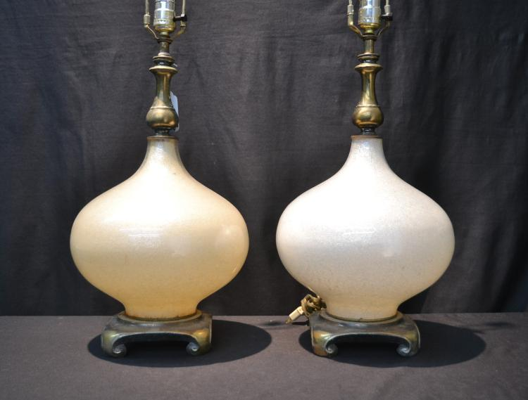 (Pr) MID CENTURY GOLD FLECK GLASS LAMPS