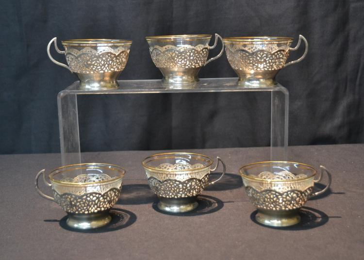 (6) RETICULATED PERSIAN SILVER HANDLED CUPS