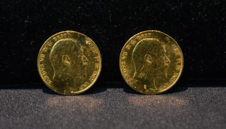 (2) BRITISH GOLD COINS - 1906 & 1908 - 16grams