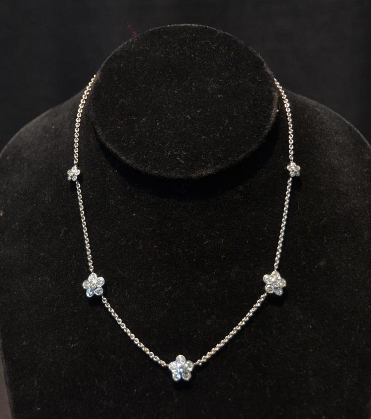 18kt GRADUATED DIAMOND FLOWER NECKLACE