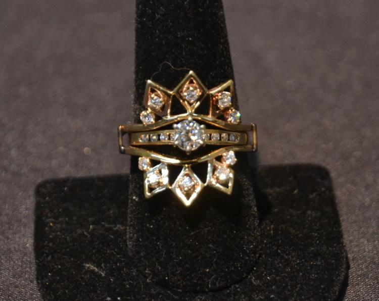 14kt DIAMOND RING WITH INSERT DIAMOND CENTER