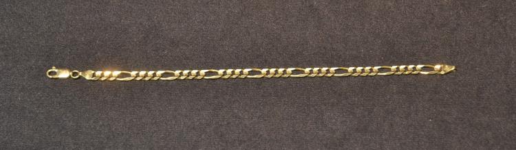 14kt GOLD FIGARO LINK BRACELET - 8