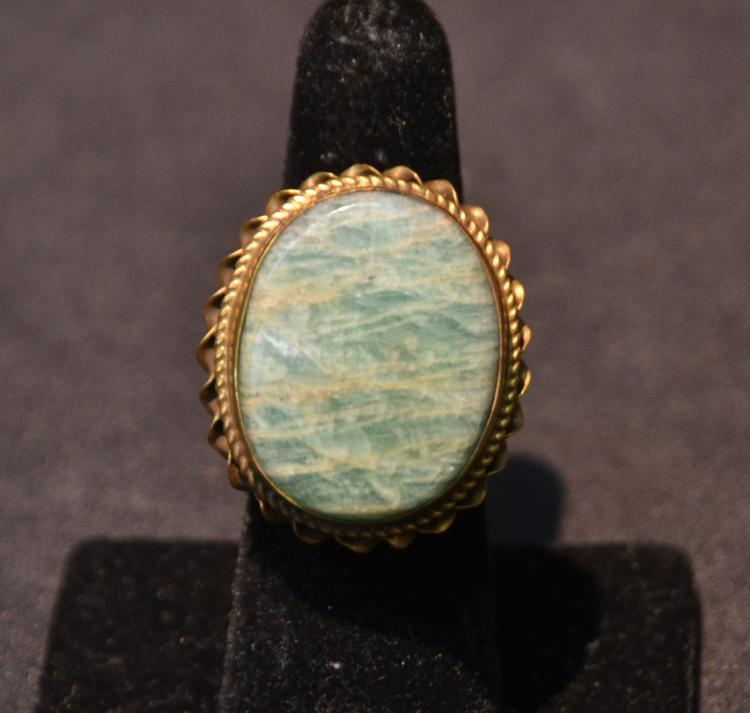 ANTIQUE 14kt GOLD & JADE RING - SIZE 7