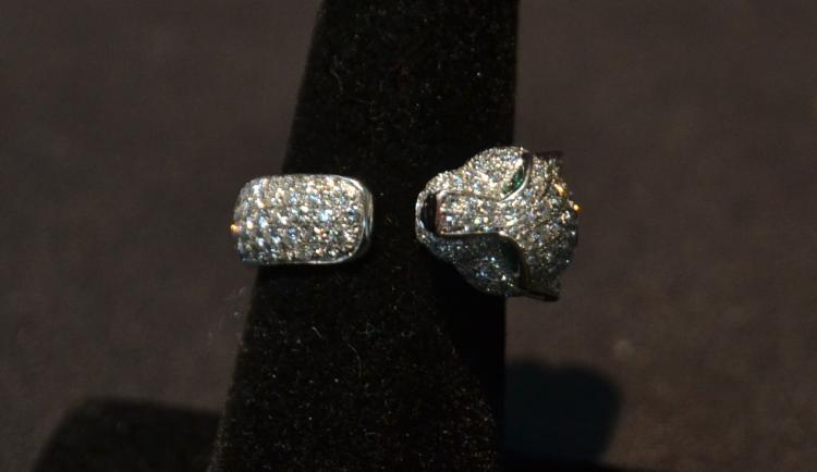 CARTIER , 18kt WHITE GOLD ALL DIAMOND PANTHER RING