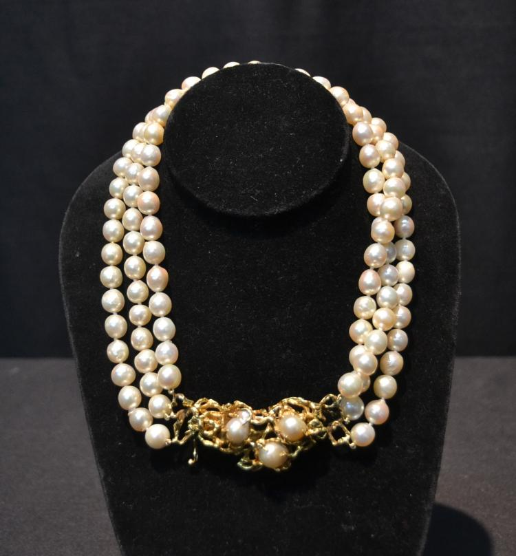 ARTHUR KING ,TRIPLE STRAND 8mm PEARL NECKLACE