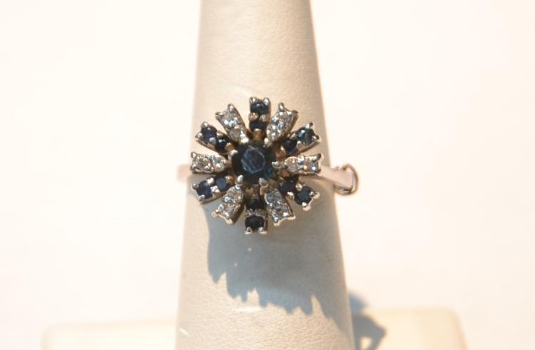 14kt WHITE GOLD DIAMOND & BLUE SAPPHIRE RING