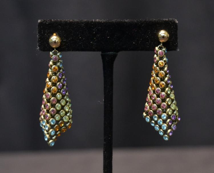 (Pr) 14kt MULTI STONE MESH EARRINGS