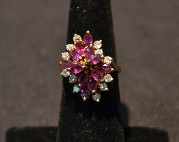 14kt RUBY & DIAMOND RING - SIZE 6 ; 6.7grams