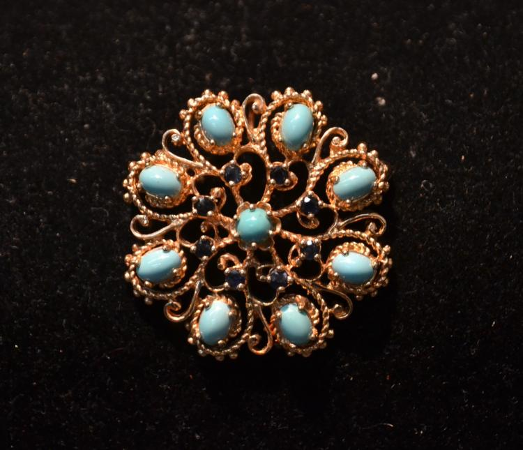 14kt GOLD TURQUOISE & SAPPHIRE PIN