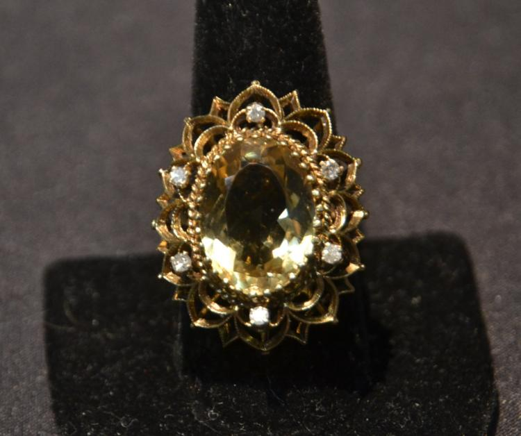 14kt VERY LARGE CITRINE & DIAMOND COCKTAIL RING