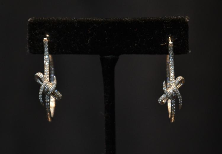 18kt GOLD & DIAMOND HOOP EARRINGS WITH BOWS
