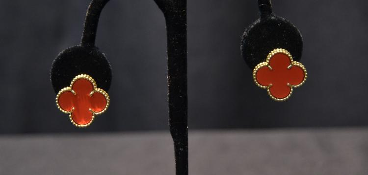 VAN CLEEF & ARPEL , 18kt CORAL ALHAMBRA EARRINGS