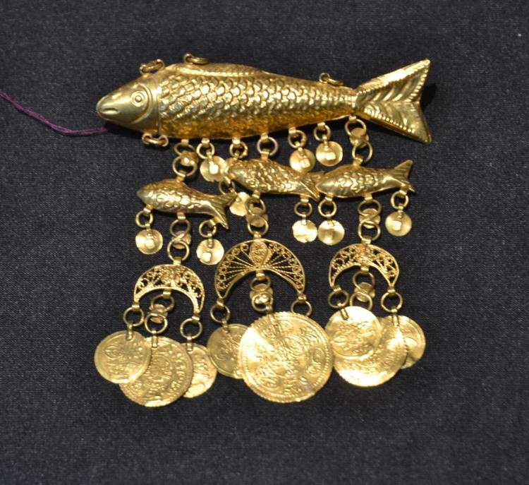18kt GOLD FISH PENDANT - BROOCH WITH