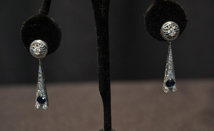 (Pr) DECO STYLE 14kt WHITE GOLD EARRINGS WITH