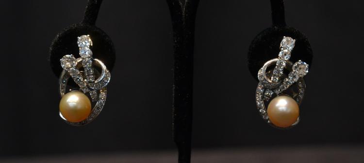 (Pr) PLATINUM 10mm CHAMPAGNE PEARL & 1.5ct DIAMOND