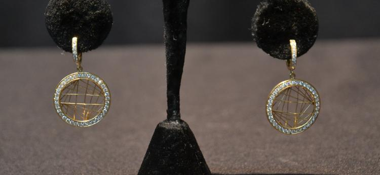 14kt DIAMOND HOOP EARRINGS WITH WEB DESIGN