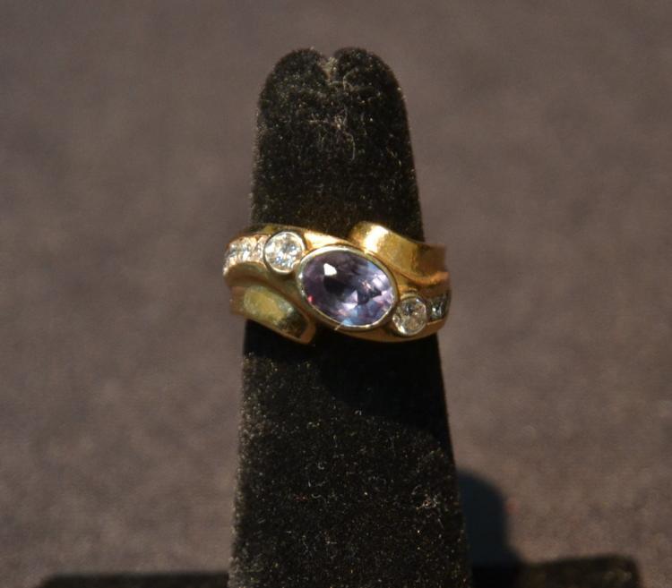 14kt RUSSIAN ALEXANDRITE & DIAMOND RING