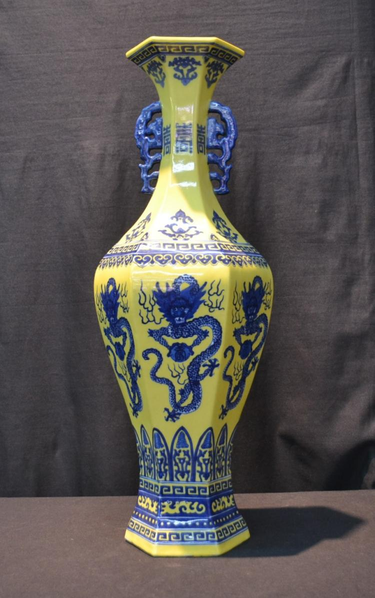 CHINESE HEXAGONAL BLUE & YELLOW VASE