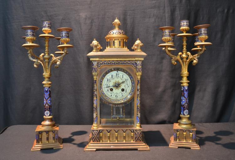 (3)pc CHAMPLEVE BRONZE CLOCK SET