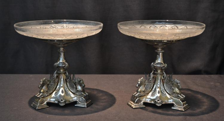 (Pr) ENGLISH SILVER PLATE & CUT GLASS COMPOTES