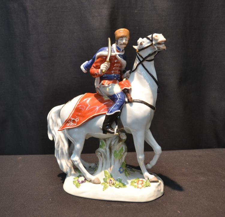 LARGE MEISSEN COSSACK SOLDIER ON HORSEBACK