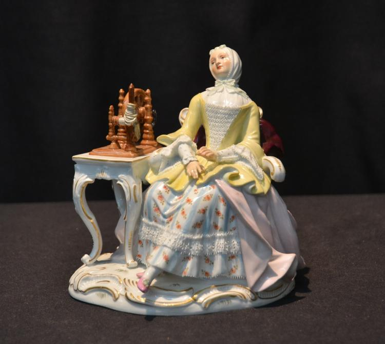 MEISSEN PORCELAIN LADY SEATED BESIDE TABLE
