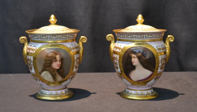 (Pr) ROYAL VIENNA COVERED POTS WITH HAND PAINTED