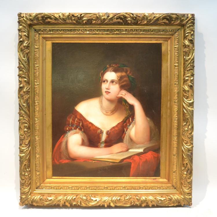 19thC OIL ON CANVAS PORTRAIT OF WOMAN