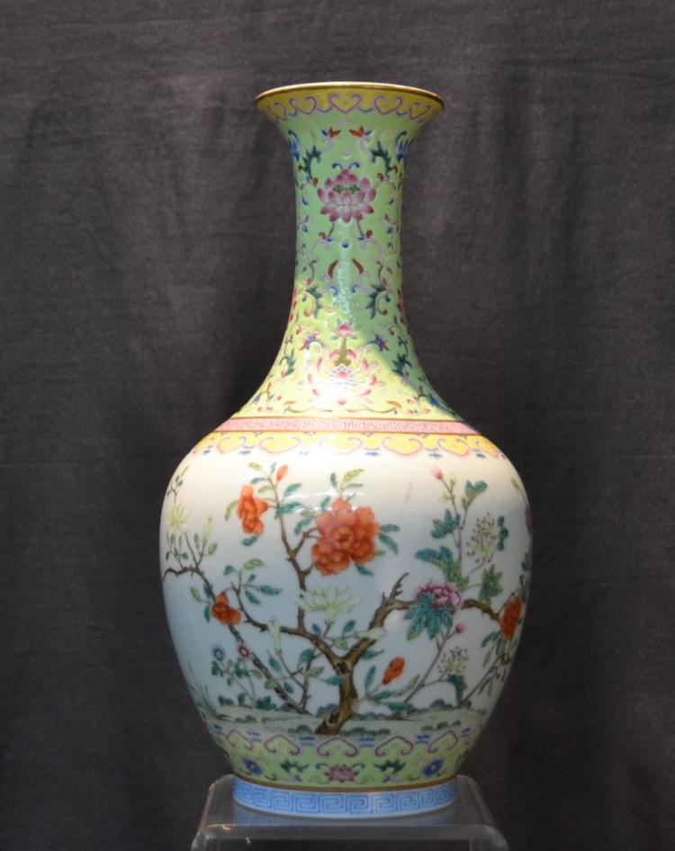 FINE ANTIQUE CHINESE FAMILLE ROSE VASE ; SIGNED