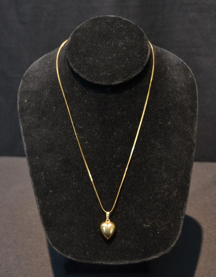 14kt GOLD HEART PENDANT WITH CHAIN