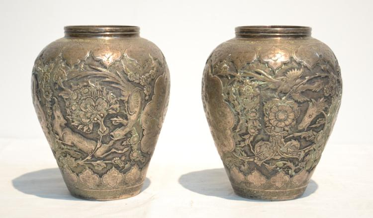 (Pr) EMBOSSED PERSIAN SILVER VASES WITH