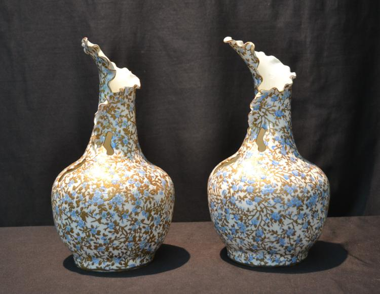 (Pr) UNUSUAL BLUE & WHITE PORCELAIN VASES