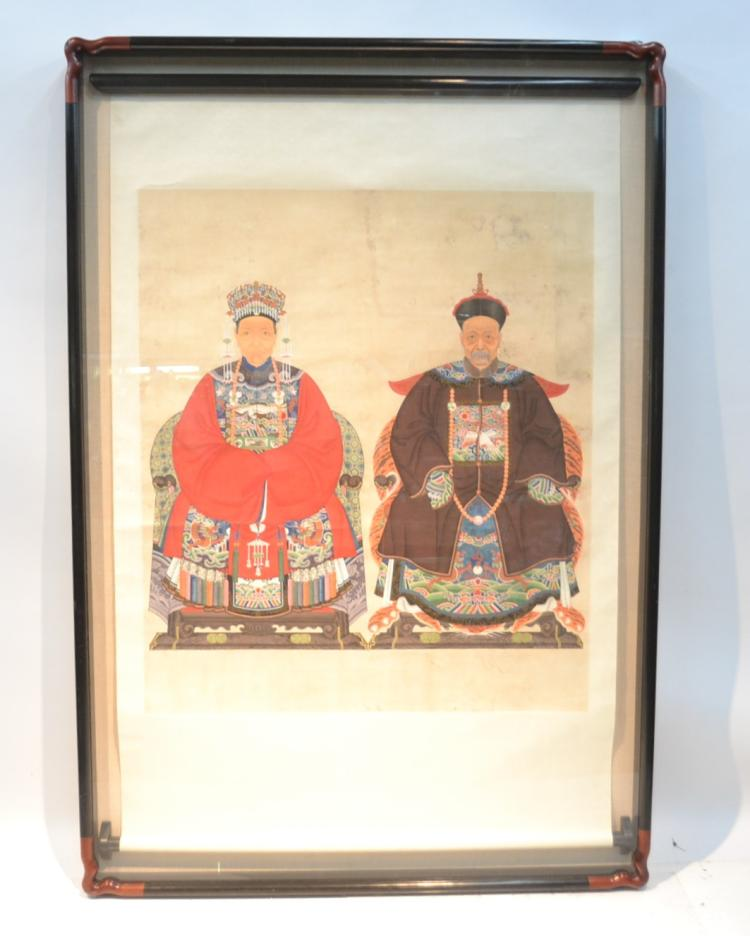 LARGE CHINESE ANCESTRAL SCROLL PAINTING