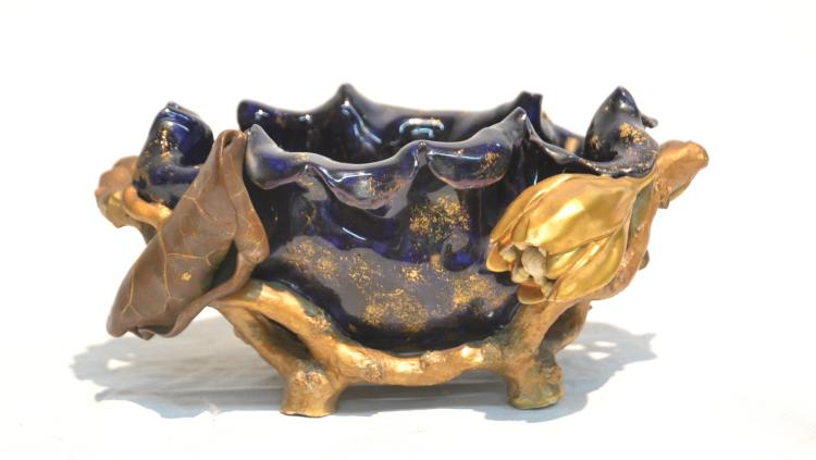 ENGLISH COBALT & GOLD AESTHETIC BOWL