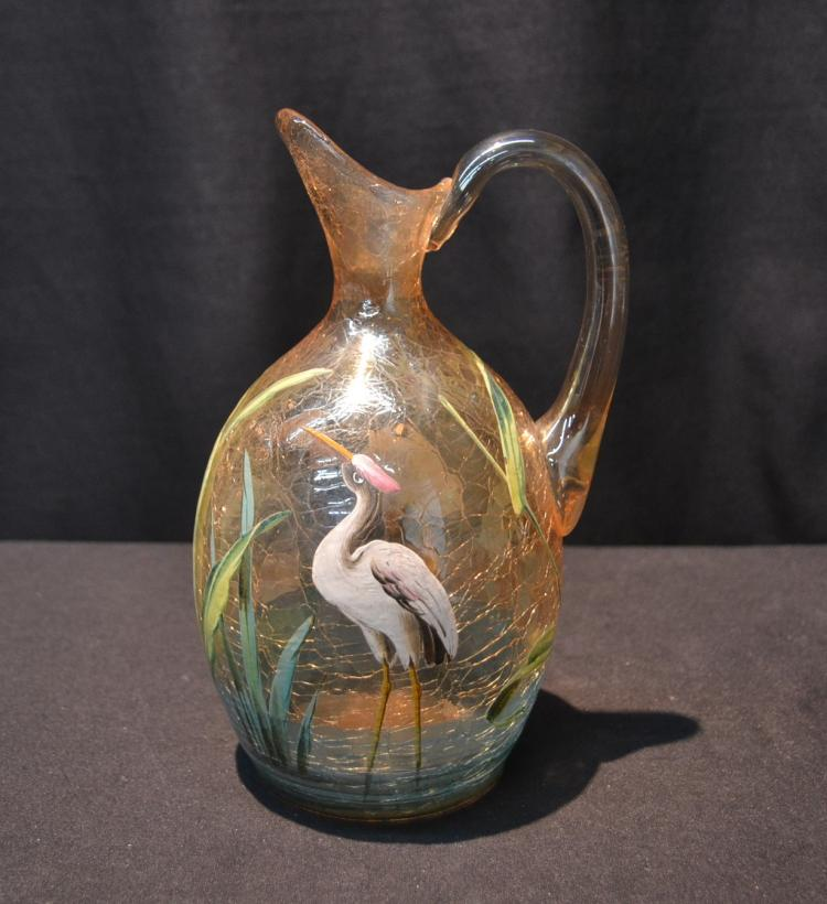 HAND PAINTED CRACKLE GLASS EWER WITH