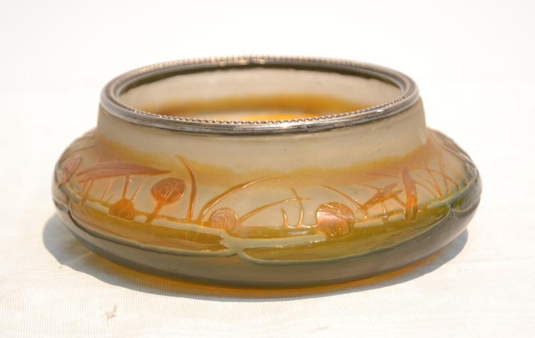 GALLE , CAMEO ART GLASS BOWL WITH SILVER RIM