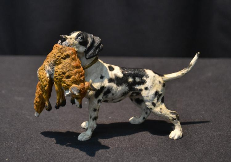 AUSTRIAN COLD PAINTED BRONZE DOG WITH FOX