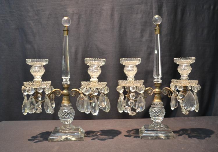 (Pr) CRYSTAL DOUBLE CANDLESTICKS WITH LUSTRES