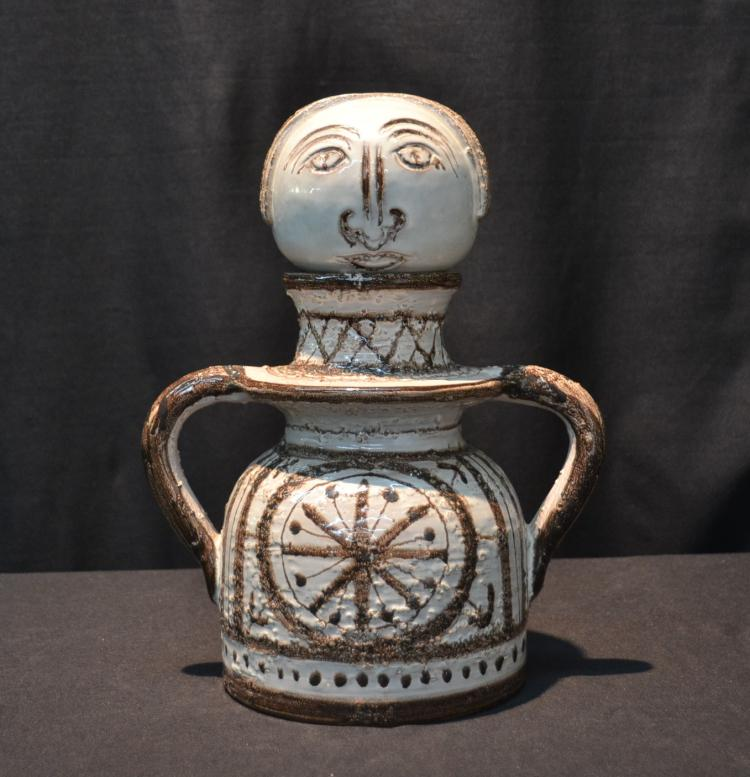 PICASSO STYLE ART POTTERY VESSEL ; WITH