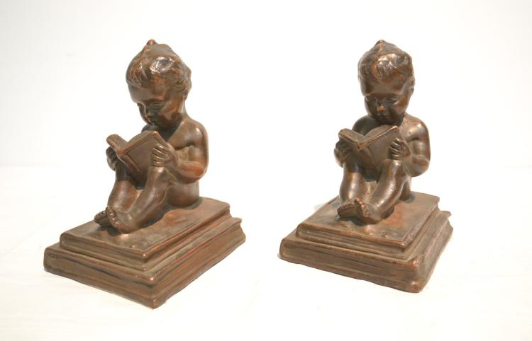 (Pr) BRONZE CLAD CUPID BOOKENDS