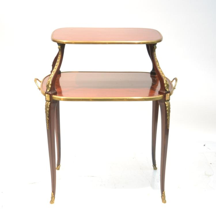 FRENCH 2-TIER DESSERT TABLE WITH BRONZE MOUNTS