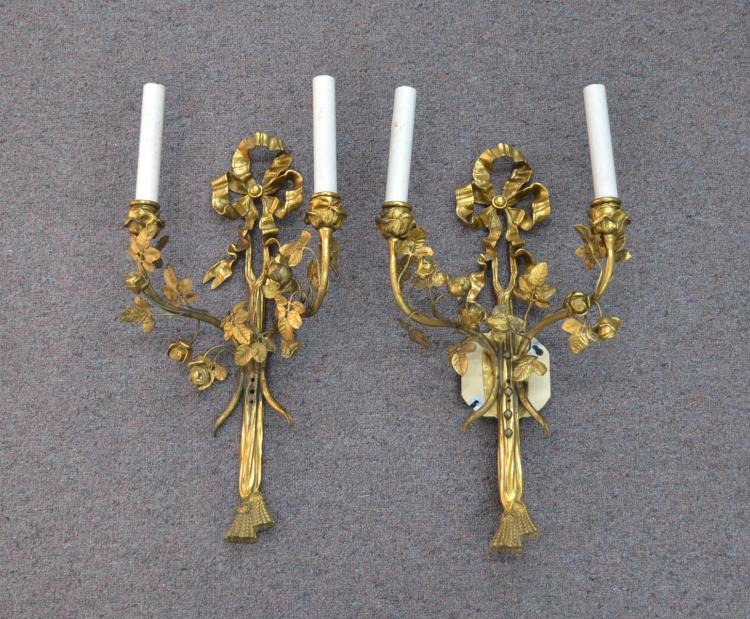 (Pr) FRENCH BRONZE SCONCES WITH