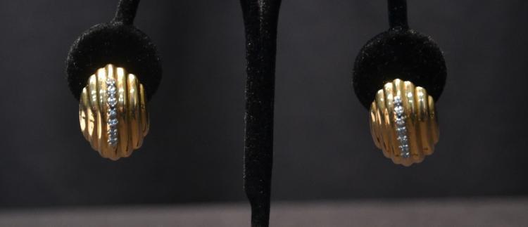 (Pr) 14kt GOLD & DIAMOND EARRINGS - 5.3grams