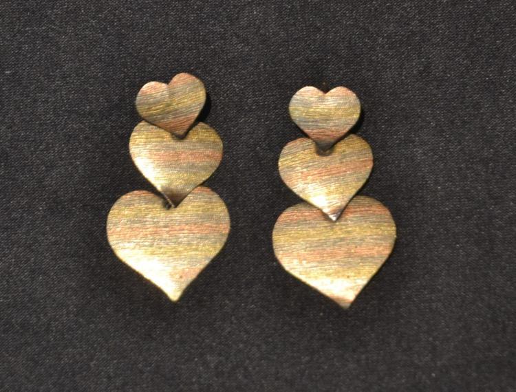 (Pr) 14kt TRI COLOR HEART EARRINGS - 1