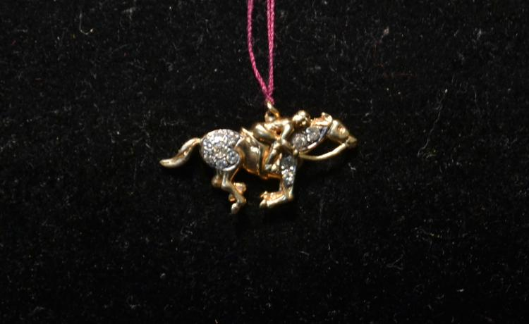 14kt GOLD & DIAMOND HORSE WITH RIDER PENDANT