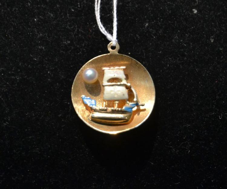 14kt GOLD & ENAMEL BOAT CHARM