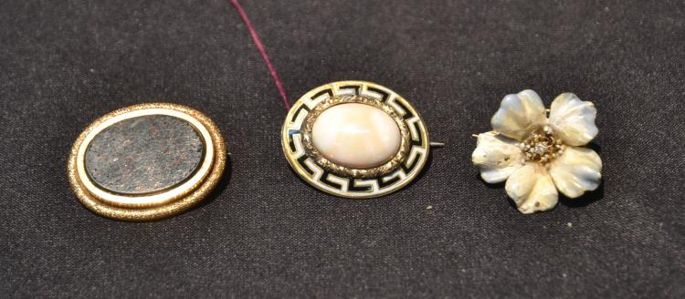 (3) 14kt GOLD PINS WITH ONYX , CORAL & ENAMEL