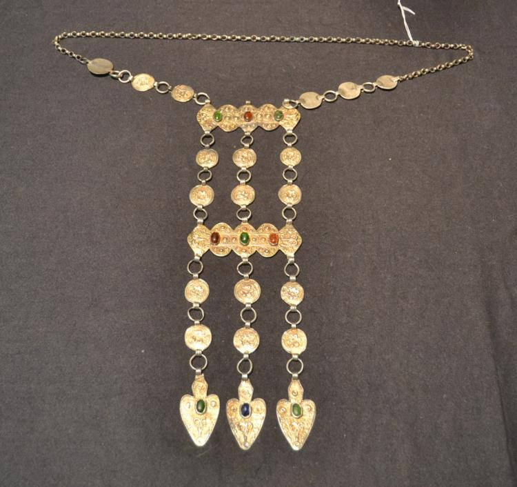 TURKMEN SILVER NECKLACE WITH JEWELS