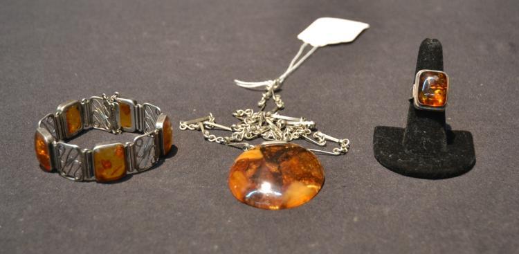 (3)pc's AMBER PENDANT ON CHAIN , BRACELET & RING